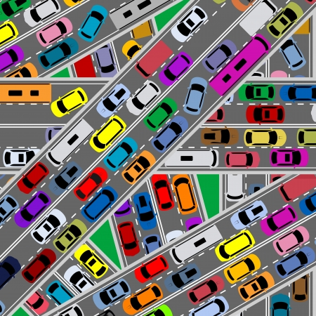 stuck: Traffic congestion on roads for modern city problems concept