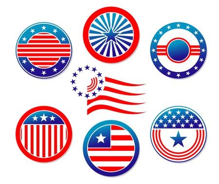 blue shield: American national banners and symbols set for election concept design Illustration
