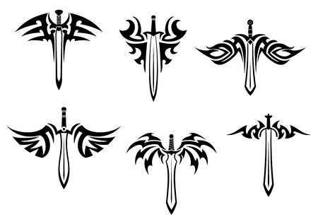 Tribal tattoos with swords and daggers for design