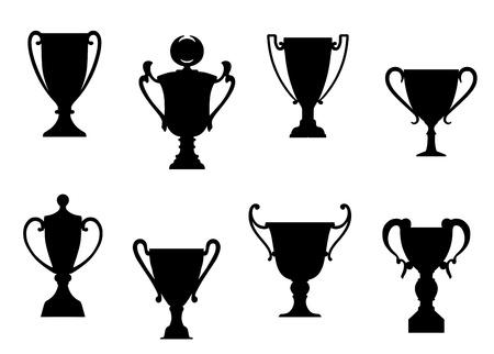 awards ceremony: Sport awards and trophies set foe heraldry or success concept design