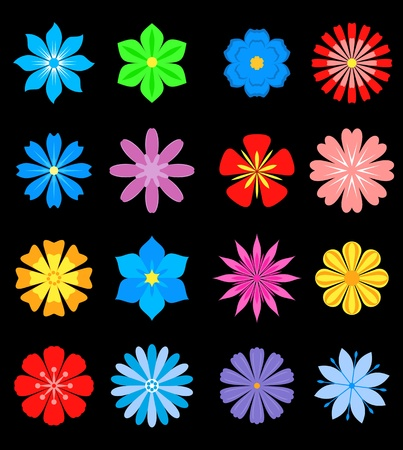 Set of flower blossoms isolated on background for design and ornate Stock Vector - 19560767