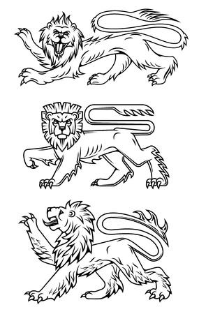 Leones poderosos y depredadores para el dise�o de la her�ldica Foto de archivo - 19976440