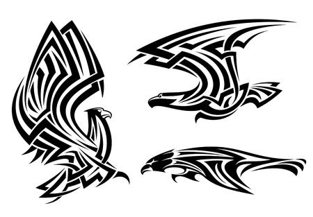 adler silhouette: Tribal Adler, Habicht und Falke gesetzt für Tätowierung oder Wappenkundeentwurf