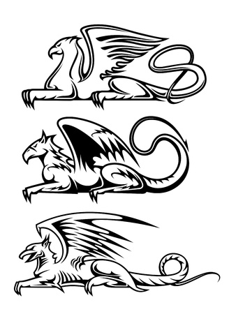 Medieval gryphons set for tattoo, mascot or heraldry design Vector