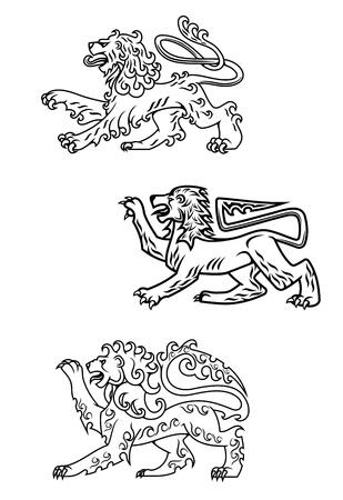 royal safari: Vintage medieval lions set for heraldry or mascot design