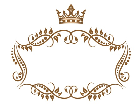 Royal medieval frame with crown isolated on white background