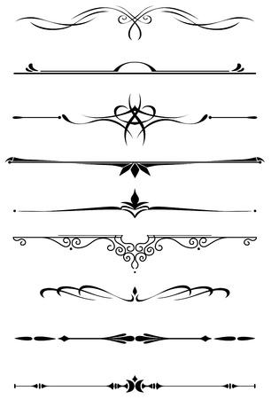 Divisores vintage y las fronteras establecidas en estilo medieval para embellecer y adornado
