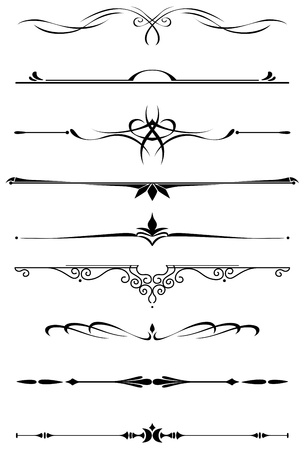 Vintage dividers and borders set in medieval style for embellish and ornate Vector