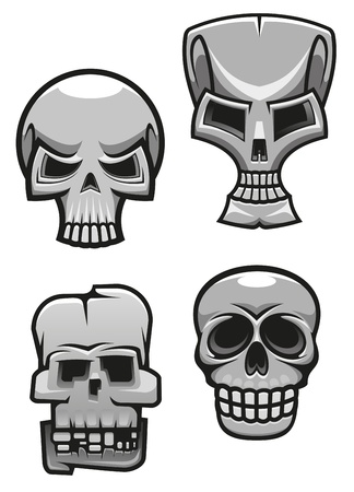 Set of monster skull mascots for tattoo or halloween design Vector