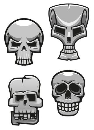 devil's bones: Set of monster skull mascots for tattoo or halloween design Illustration
