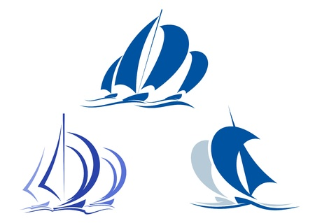 nautical vessel: Yachts and sailboats symbols for yachting sport design