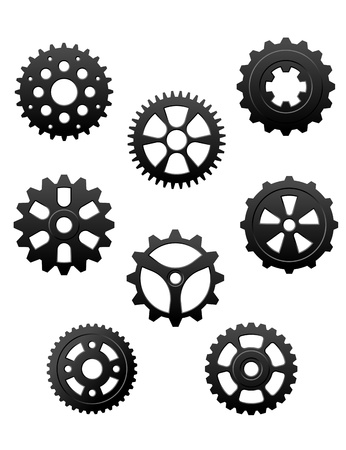 Pinons and gears set for industry or another conceptual