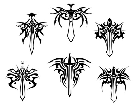 anger abstract: Tattoo set with swords and daggers in tribal style