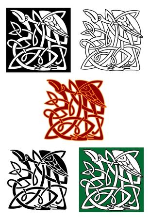 Celtic totems with heron birds and ornamental elements for medieval culture or religion design Vector
