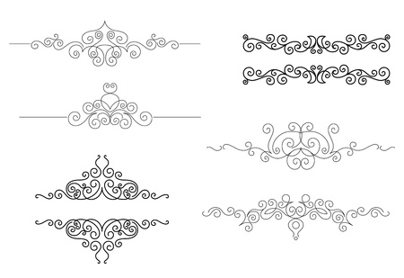 Monograms and frames set in vignette style for design and ornate Vector