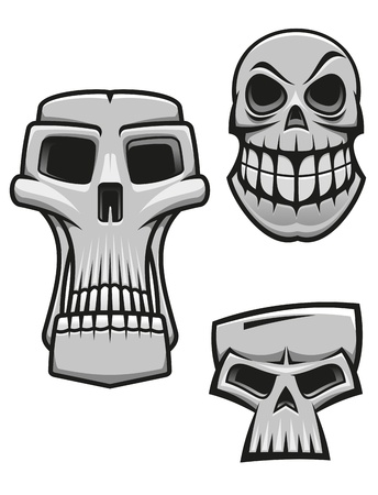 Monster and zombie skulls set isolated on white for halloween or horror concet design Vector