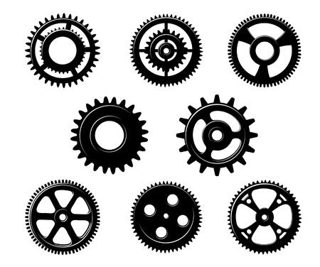 Conjunto de pi�ones y engranajes met�licos para la industria de dise�o de concepto aislado en el fondo blanco