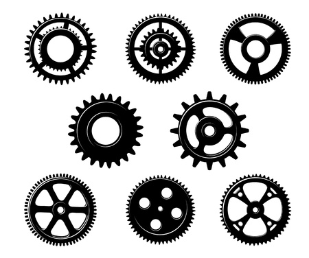 Set of metallic pinions and gears for industry concept design isolated on white background Vector