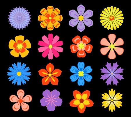 Set of floral elements and blossoms isolated on background Stock Vector - 19976662