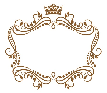 medieval banner: Retro frame with royal crown and flowers for wedding or heraldry design Illustration