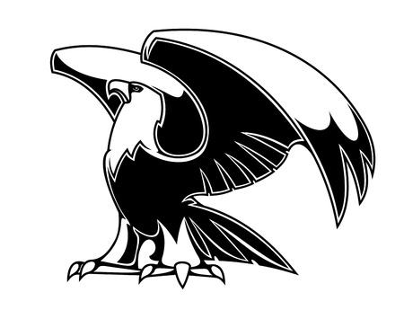 hawks: Potente aquila isolato su sfondo bianco per la progettazione araldica o tatuaggio