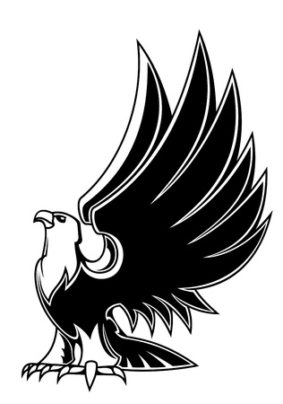 eagle feather eagle claw: Majestic eagle mascot isolated on white background for tattoo or heraldry design Illustration