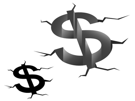 bankruptcy: Dollar symbol in crash for american crisis concept Illustration