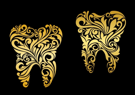 stomatology icon: Golden tooth in floral style for dentistry design