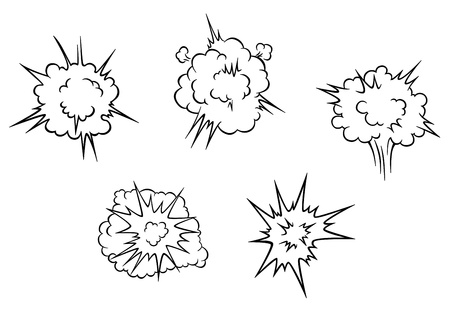 Set of cartoon clouds of explosion for comics or another design Vector