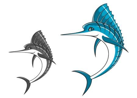 marline: Big blue marlin in cartoon style for mascot ot fishing sport design