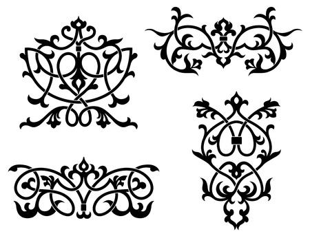 Elementen en grenzen in vintage stijl voor ontwerp