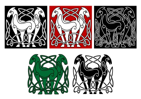 Celtic horses with decorative elements and patterns Vector