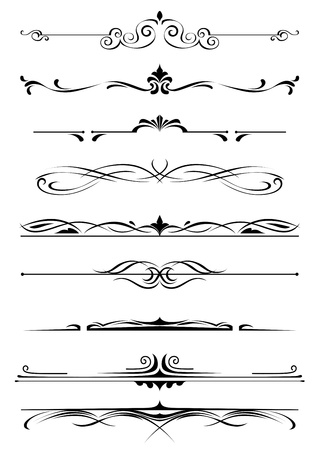 Vintage monogrammen en randen instellen vijand ontwerp en versier Stock Illustratie