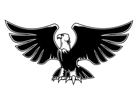 black kite: Majestic eagle with open wings for heraldry and tattoo design