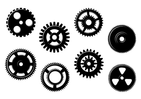 Set of gears and pinions isolated on white background Vector