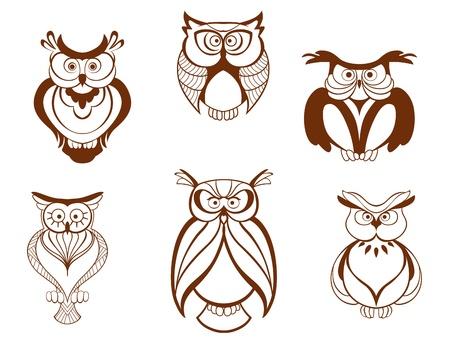 Set of cartoon owl birds isolated on white background Illustration