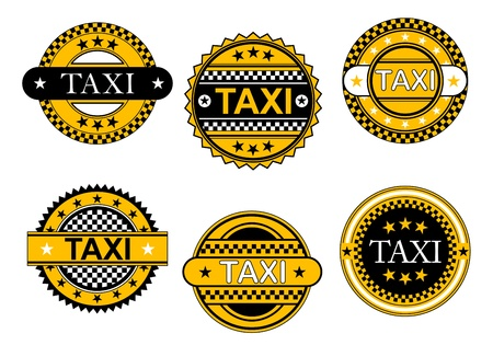 fare: Taxi service emblems and signs set for transportation industry design Illustration