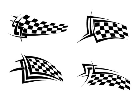 autosport: Tribal signs with checkered flags for sports or tattoo design Illustration