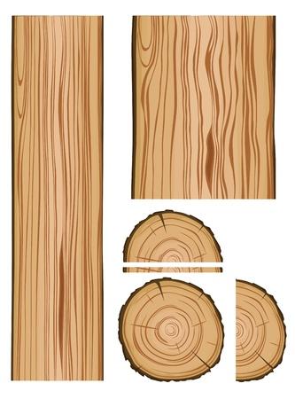 La texture du bois et des pièces isolées sur fond blanc