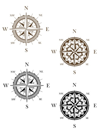 old world map: Set of vintage compass signs for travel or another design