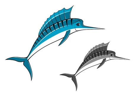 Blue marlin fish in cartoon style for fishing sports design Vector