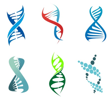 DNA와 분자 기호는 화학 또는 생물학 개념 디자인을위한 설정. 편집 가능한 그림