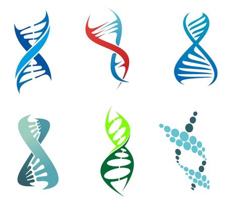 DNA と分子のシンボルは化学または生物学の概念設計の設定します。編集可能なイラスト