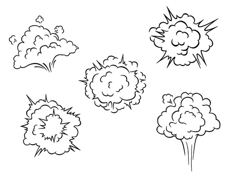 Cartoon clouds and explosions set for comics or another design Vector
