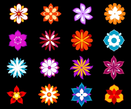 Set of colorful flowers and blossoms isolated on background for design Stock Vector - 20325268