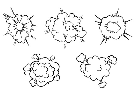 Clouds and explosions set in cartoon style isolated on white background for comics or another design Vector