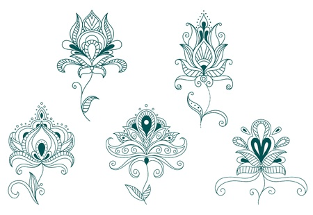Abstract flowers and blossoms set isolated on white background Stock Vector - 20322911