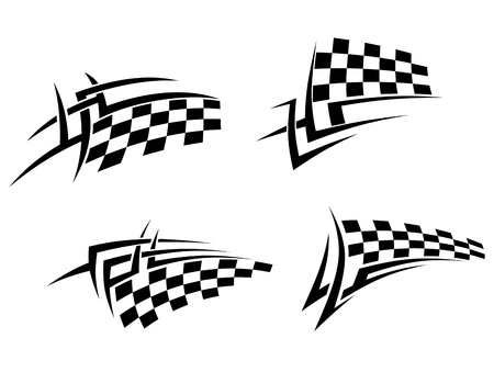 chequer: Tribal tattoos set with racing flag for sport design