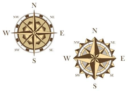 여행 또는 다른 개념 설계를위한 중세 스타일 두 빈티지 나침반