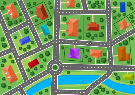 villages: Map of little town or suburb village for real estate design Illustration